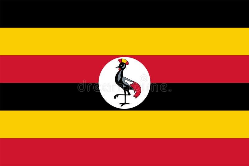 Bandeira do vetor de Uganda 2:3 da propor??o Bandeira nacional Ugandan Rep?blica do Uganda ilustração stock