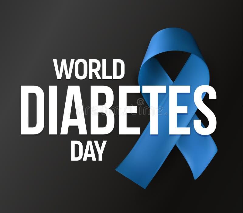 Bandeira do vetor do dia do diabetes do mundo Ícone do vetor da fita azul com texto no fundo escuro Dois ou primeiros tipos diabe ilustração do vetor