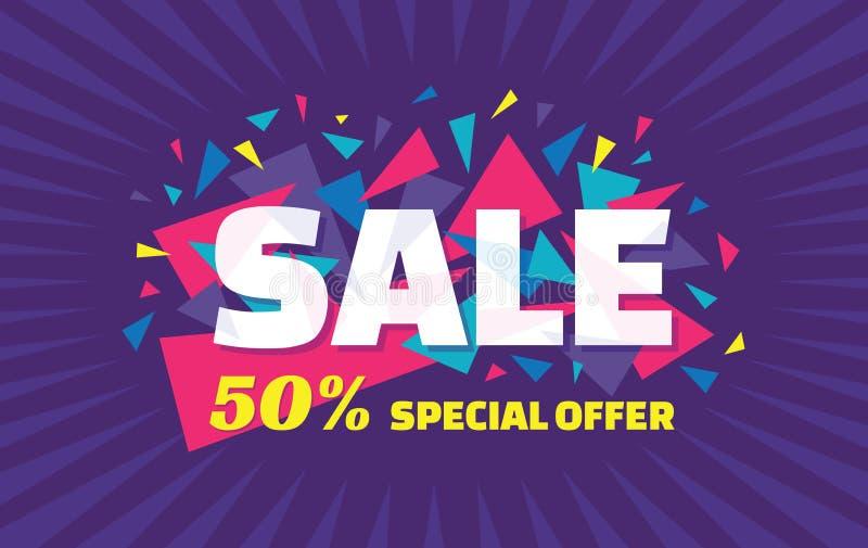 Bandeira do vetor do conceito - oferta especial - venda de 50% Bandeira da venda com elementos abstratos do triângulo Fundo abstr ilustração royalty free