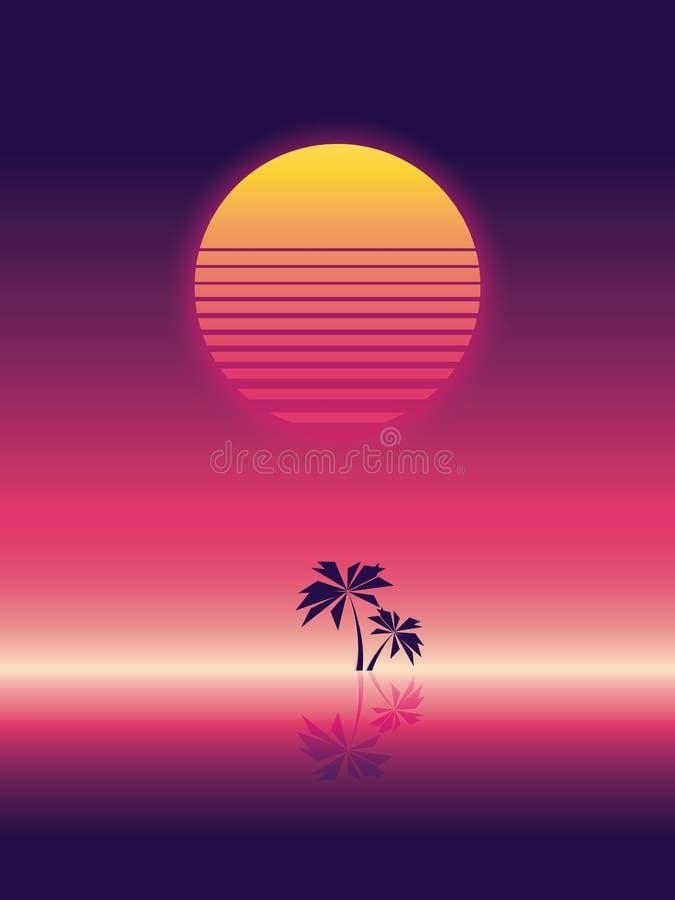 Bandeira do vetor do partido da praia do verão ou molde do inseto estilo de néon retro do fulgor 80s Palmeiras no horizonte ilustração stock