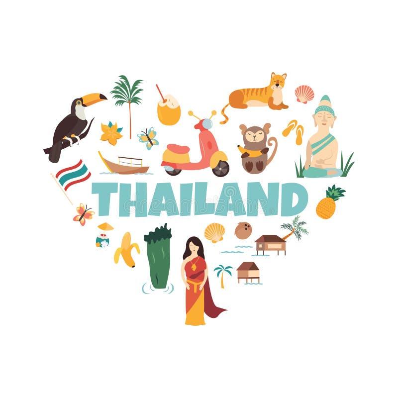 Bandeira do vetor dos desenhos animados de Tailândia Ilustração do curso ilustração stock