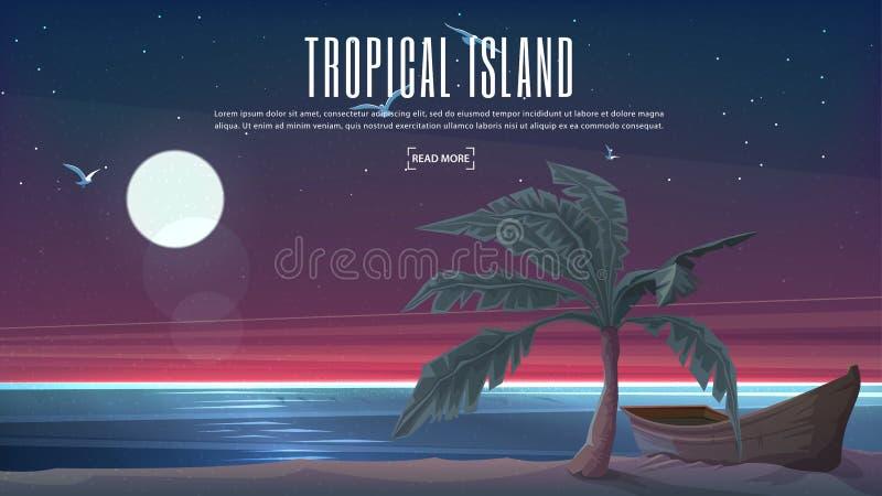 Bandeira do vetor Ilha do paraíso da noite com palma tropical e o barco de madeira ilustração royalty free