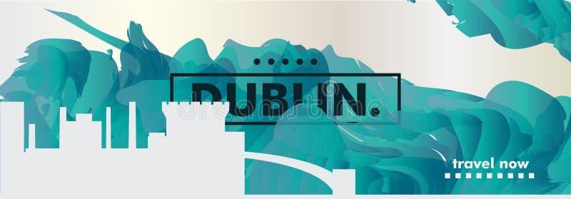 Bandeira do vetor do inclinação da cidade da skyline de Dublin da Irlanda ilustração royalty free