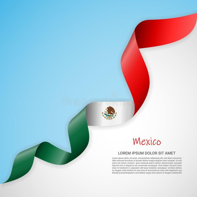 Bandeira do vetor nas cores brancas e azuis e fita de ondulação com a bandeira de México Molde para o projeto do cartaz, folhetos ilustração do vetor