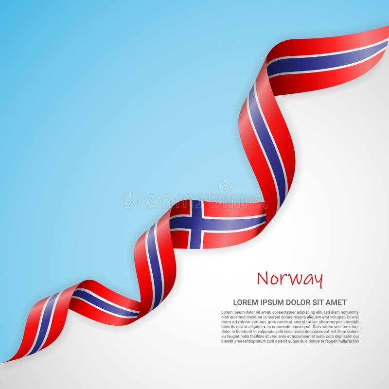 Bandeira do vetor nas cores brancas e azuis e fita de ondulação com a bandeira de Noruega Molde para o projeto do cartaz, folheto ilustração royalty free