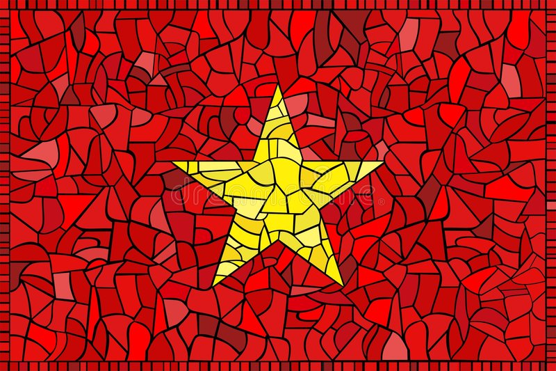 Bandeira do vidro manchado de Vietnam ilustração royalty free