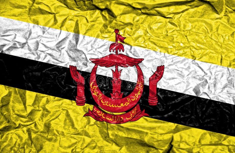 Bandeira do vintage de Brunei Darussalam no fundo de papel amarrotado velho imagem de stock