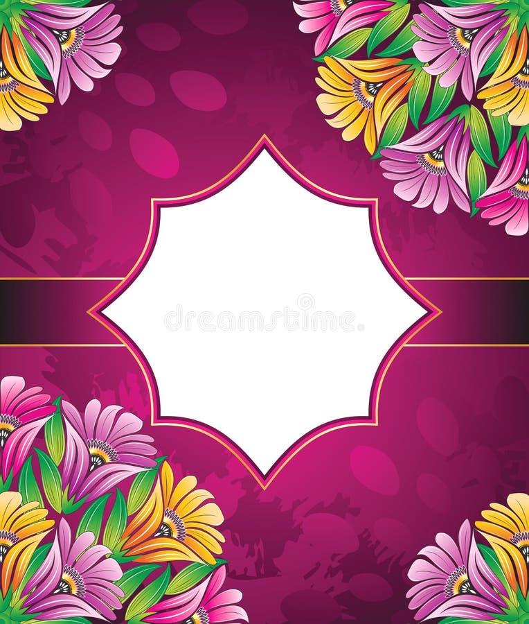 Bandeira do vintage do vetor das flores ilustração royalty free