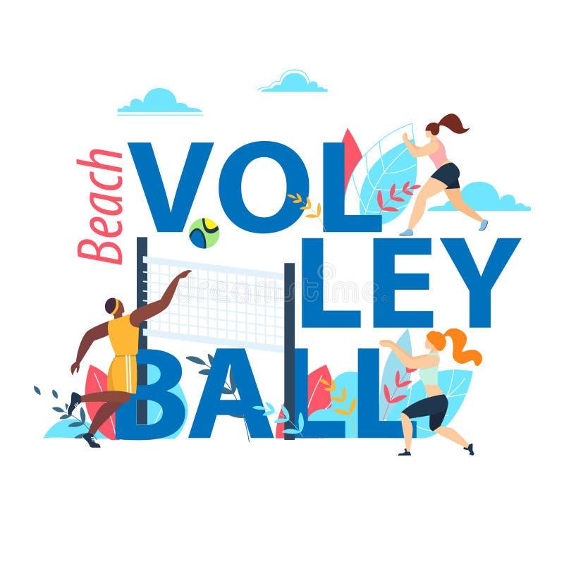 Bandeira do voleibol de praia com tipografia, esporte ilustração stock