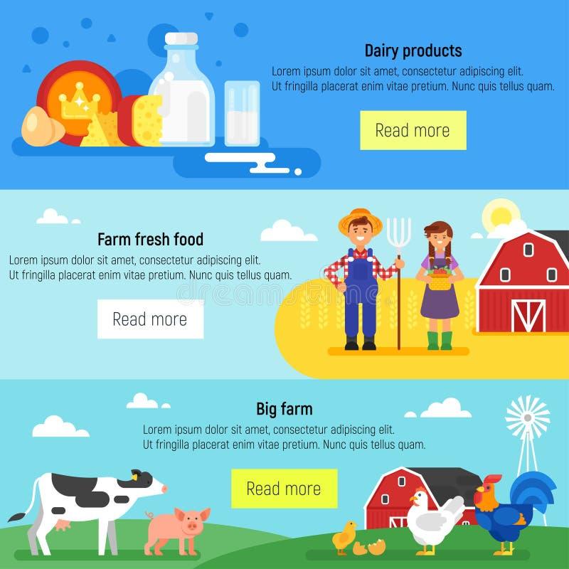 Bandeira do Web Exploração agrícola, fazendeiros, exploração agrícola ilustração do vetor