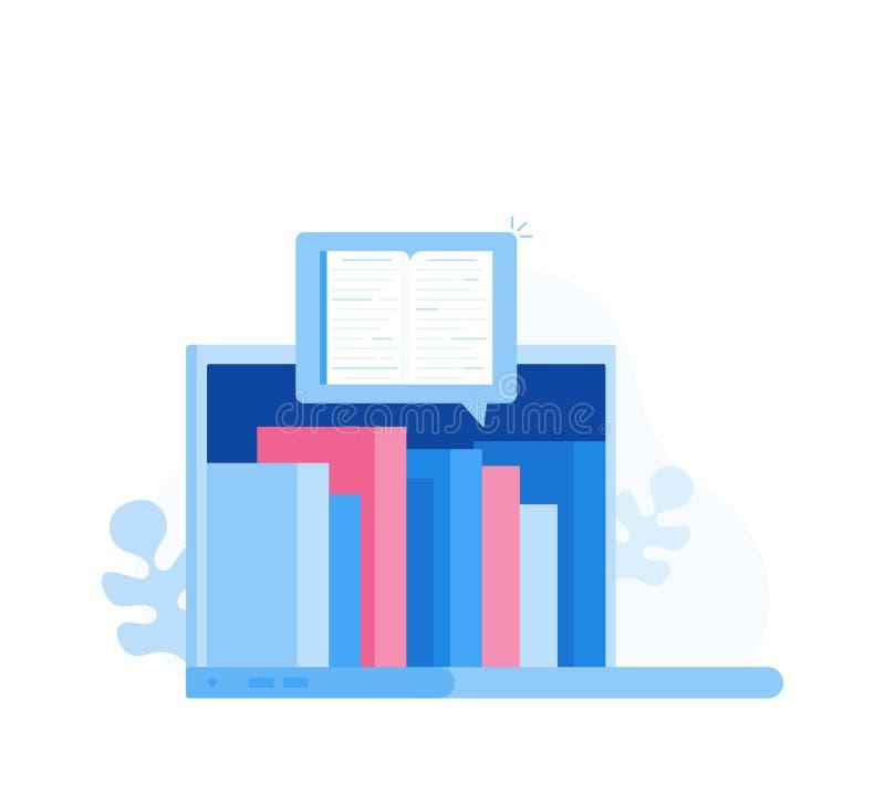 Bandeira do Web site do conceito do ensino eletrónico, eBook, educação em linha, biblioteca em linha Ilustração moderna do vetor ilustração stock