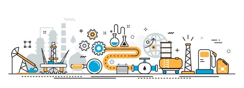 Bandeira do Web site do processo da indústria da produção de petróleo e gás ilustração stock