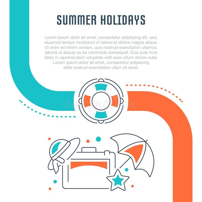 Bandeira do Web site e página da aterrissagem das férias de verão ilustração stock