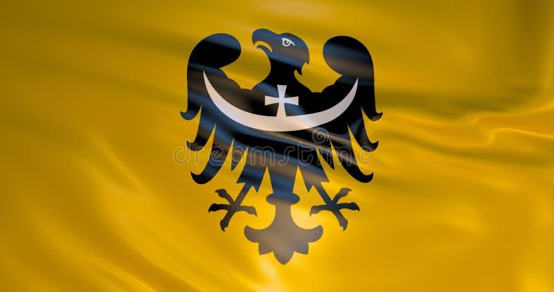 Bandeira do wojewodztwo de Dolnoslaskie, Polônia, ilustração 3d ilustração royalty free