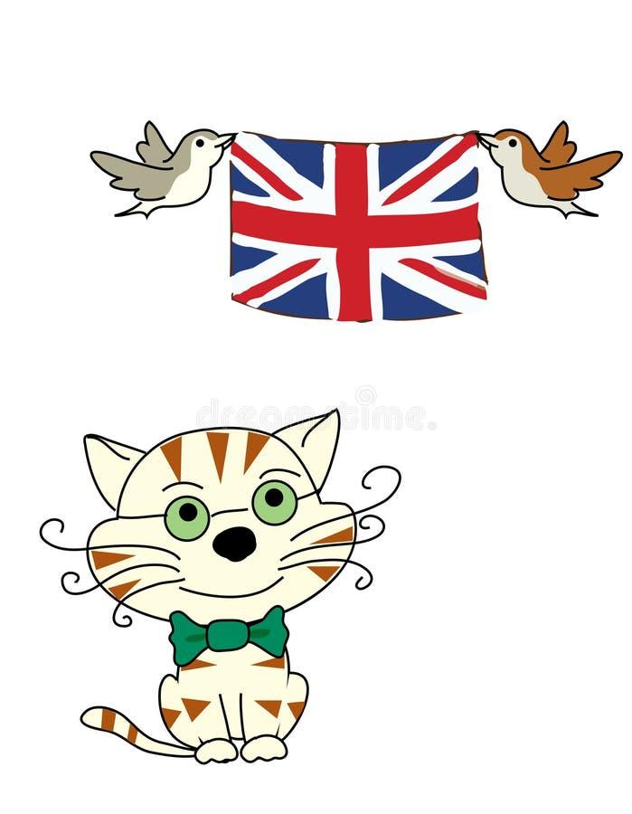 Bandeira do woth do gato e dos pássaros ilustração do vetor