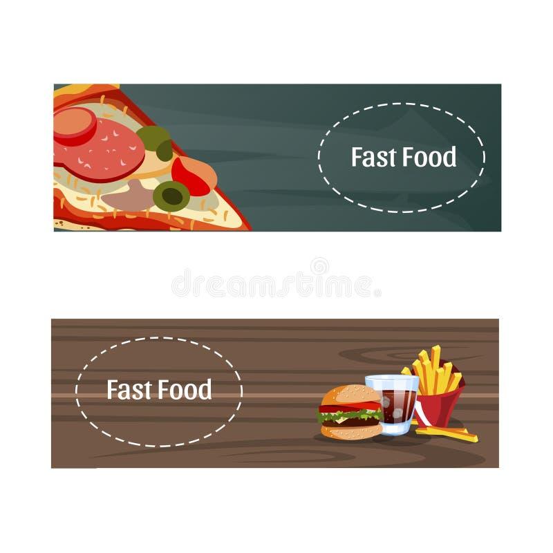 Bandeira dois com fast food ilustração do vetor