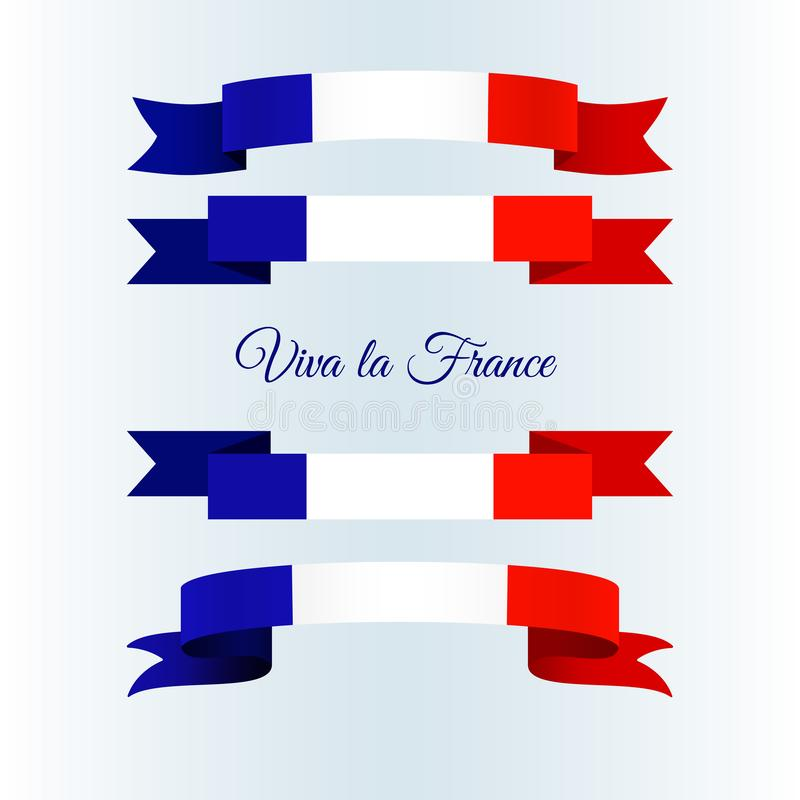 Bandeira dos ícones da fita de França em uma disposição clara da bandeira do folheto do grupo do fundo com linhas onduladas de fi ilustração do vetor