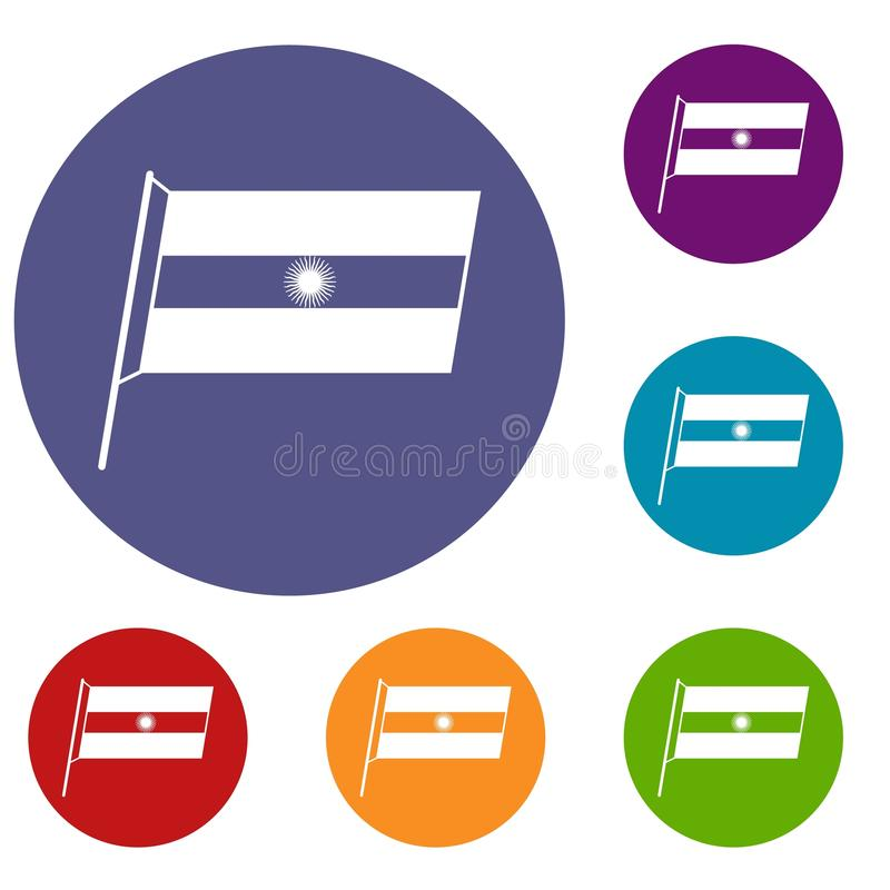 Bandeira dos ícones de Argentina ajustados ilustração do vetor