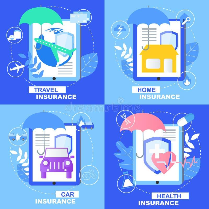 Bandeira dos cuidados médicos do seguro do curso da casa do carro da saúde ilustração royalty free