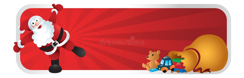 Bandeira dos desenhos animados do Natal de Papai Noel ilustração royalty free