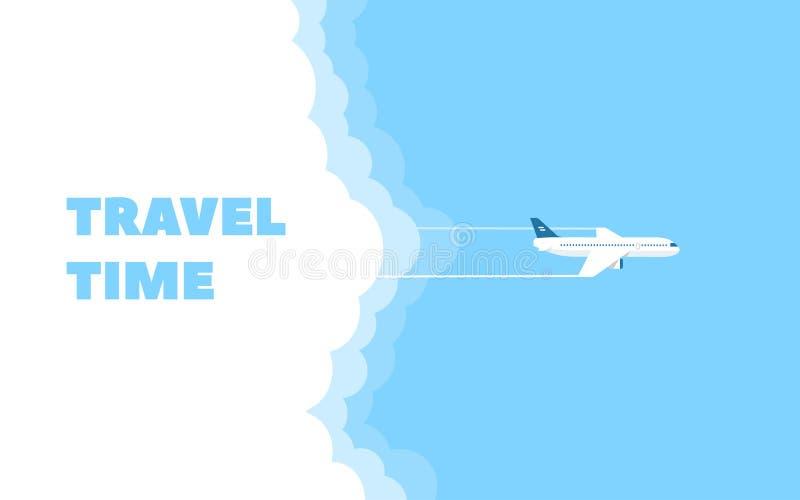 Bandeira dos desenhos animados do plano e da nuvem do voo no fundo do céu azul Molde do projeto de conceito da hora de viajar ilustração do vetor