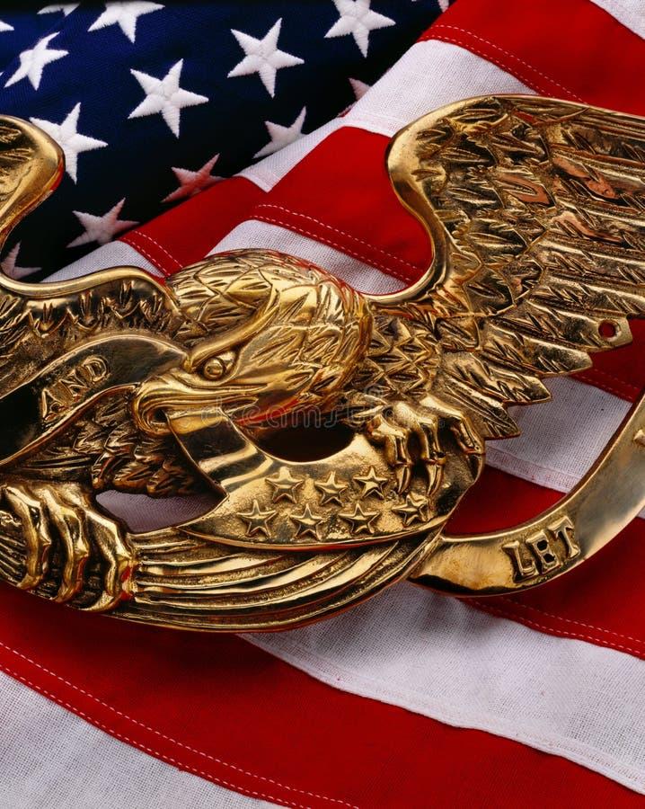Bandeira dos E.U. com águia fotografia de stock royalty free