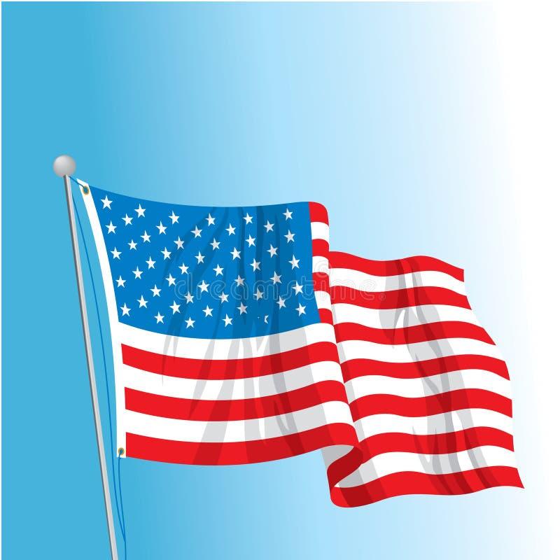 Bandeira dos E.U. em Pólo ilustração do vetor