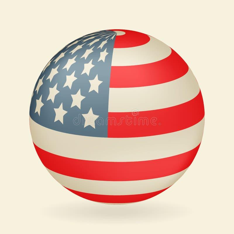 Bandeira dos E.U. na forma de uma bola Ícone isolado no fundo bege Ilustração do vetor ilustração stock
