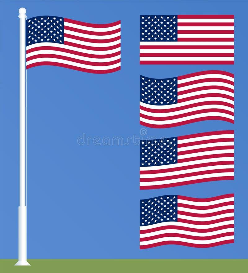 Bandeira dos E.U. no mastro de bandeira Grupo de acenar bandeiras americanas ilustração royalty free