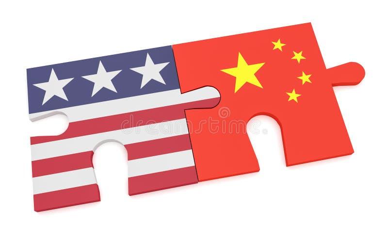 Bandeira dos E.U. e partes chinesas do enigma da bandeira, ilustração 3d isolada no branco ilustração royalty free