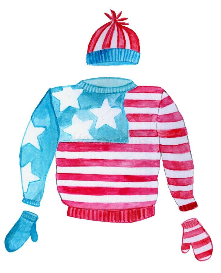 Bandeira dos Estados Unidos feia da camiseta do Natal fotografia de stock