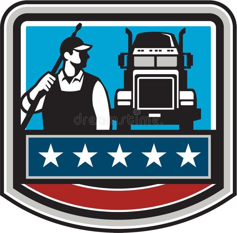 Bandeira dos EUA da crista do caminhão do trabalhador da arruela da pressão retro ilustração do vetor