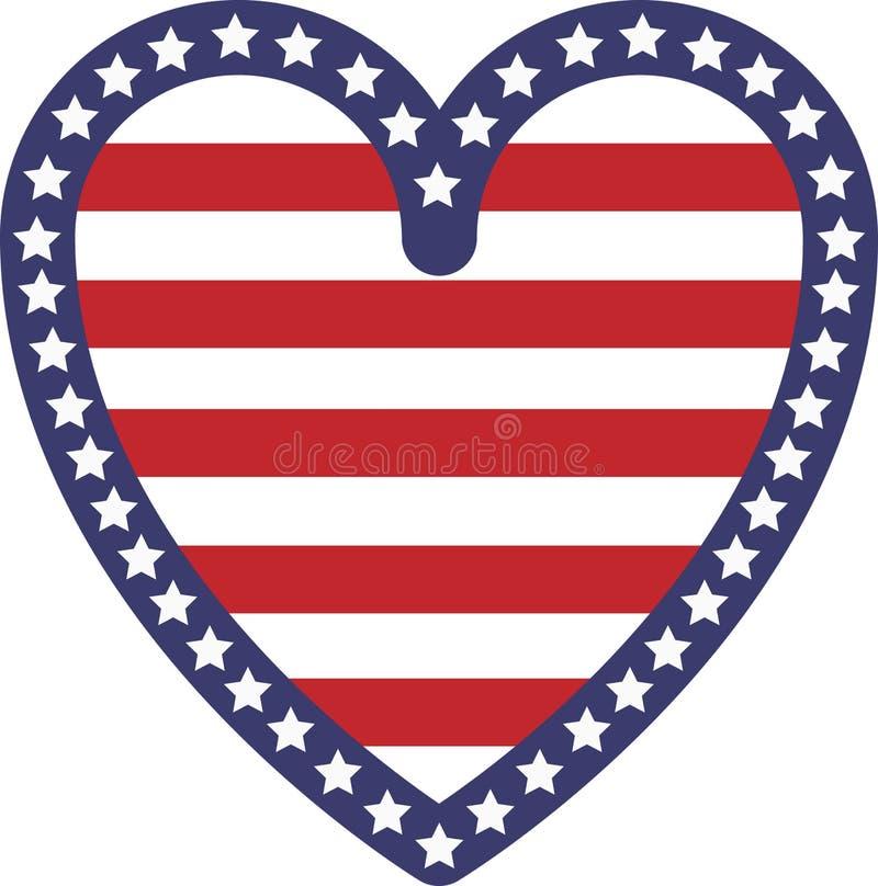 Bandeira dos EUA da forma do coração fotografia de stock