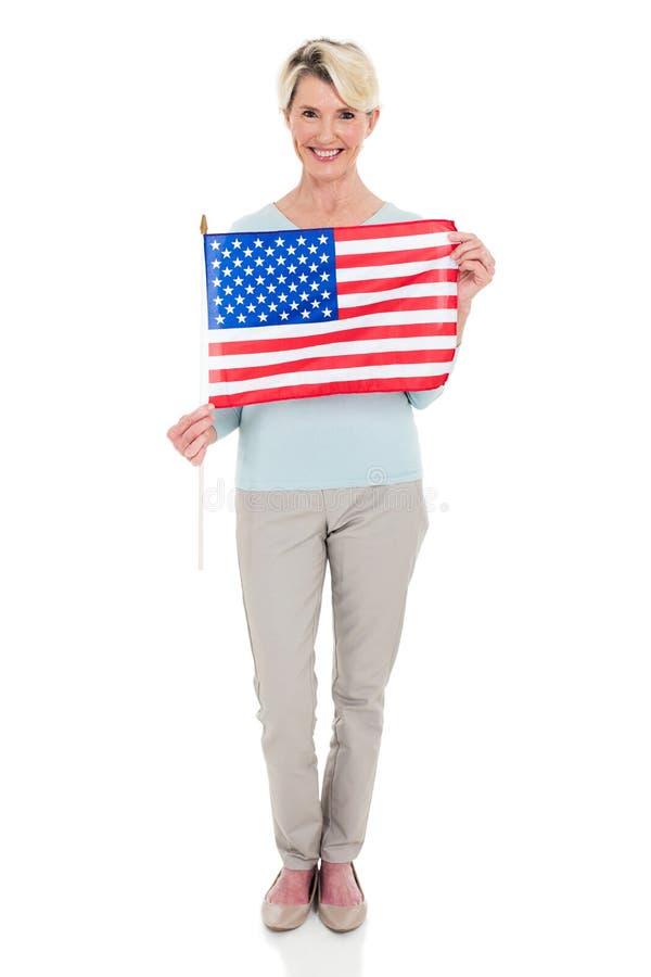 Bandeira dos EUA da mulher imagem de stock