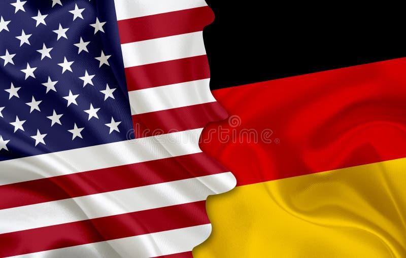 Bandeira dos EUA e bandeira de Alemanha ilustração do vetor