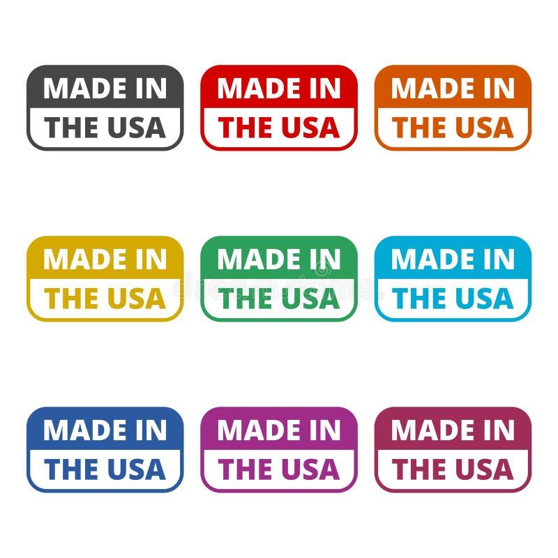 Bandeira dos EUA - feita no ícone de América, ícones da cor ajustados ilustração stock