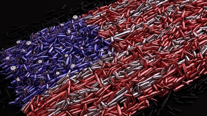 Bandeira dos EUA formada fora das balas ilustração stock