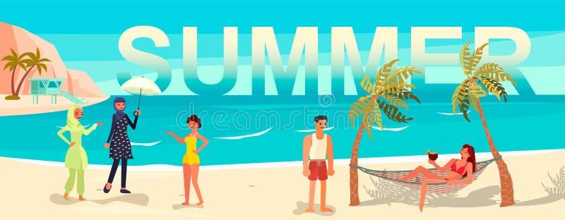 Bandeira dos feriados e das férias com povos ilustração stock