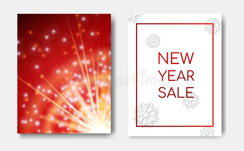 Bandeira dos insetos da noite do conceito da venda do ano novo com incandescência do brilho das faíscas, explosão da estrela, efe ilustração do vetor