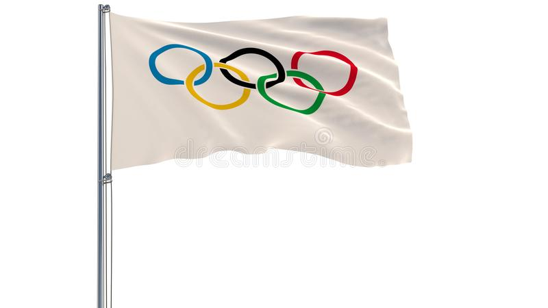 Bandeira dos Jogos Olímpicos em um mastro de bandeira que vibra no vento em um fundo branco, rendição 3d ilustração royalty free