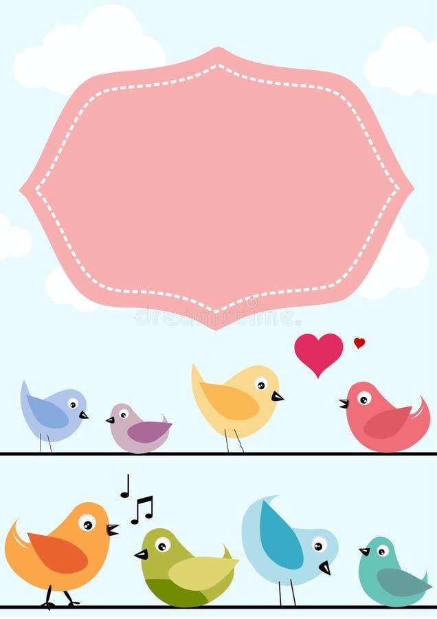Bandeira dos pássaros da mola ilustração do vetor