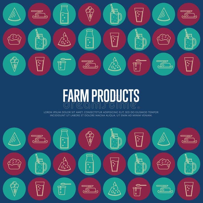 Bandeira dos produtos agrícolas com ícones da leiteria ilustração royalty free