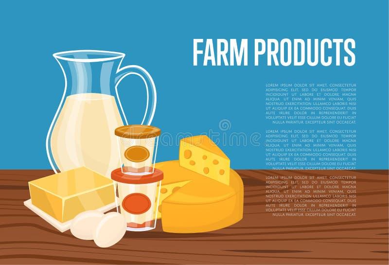 Bandeira dos produtos agrícolas com composição da leiteria ilustração do vetor