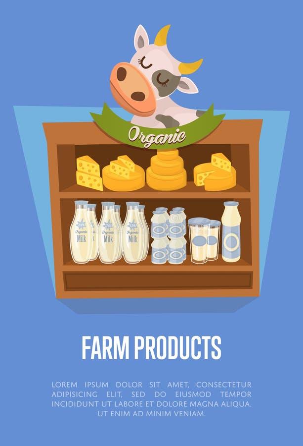 Bandeira dos produtos agrícolas com prateleiras do supermercado ilustração do vetor