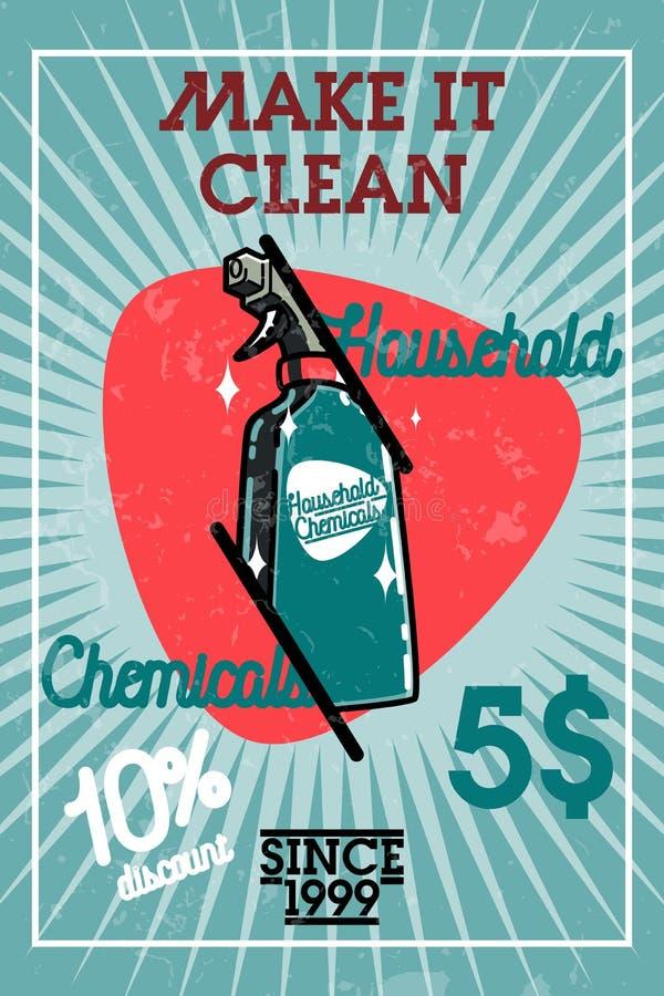 Bandeira dos produtos químicos de agregado familiar do vintage da cor ilustração stock