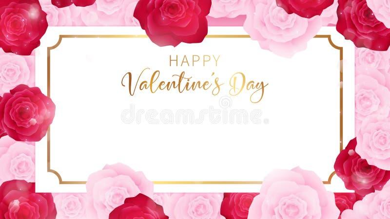 A bandeira dos Valentim contém o convite floral vermelho do fundo, o branco e o vermelho do rosetop da opinião do Valentim que ar ilustração royalty free