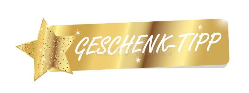 Bandeira dourada com ideia de brilho da estrela e do presente das palavras do alemão - ilustração stock