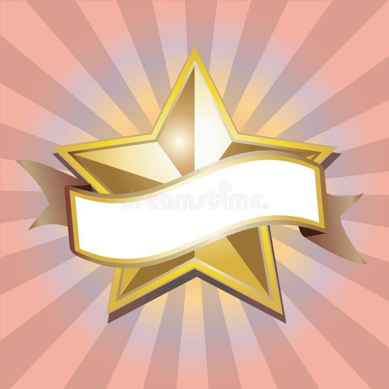 Bandeira dourada da estrela ilustração royalty free