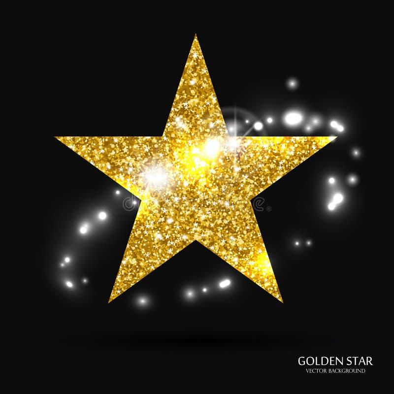 Bandeira dourada da estrela Estrela do brilho do ouro Estrela do molde do ouro para a bandeira, cartão, vip, exclusive, certifica ilustração do vetor