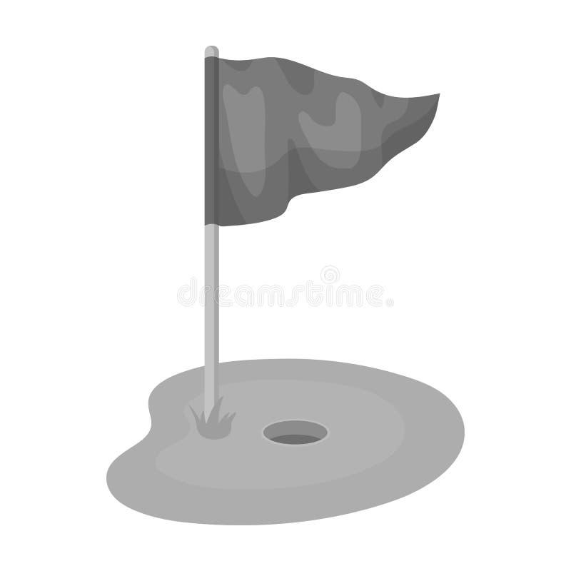 Bandeira e campo de golfe Ícone do clube de golfe único na Web monocromática da ilustração do estoque do símbolo do vetor do esti ilustração royalty free